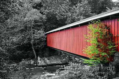 Selective Color Photograph - Mcconnells Mill Selective Color by Pittsburgh Photo Company