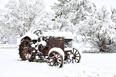 Photograph - Mccormick-deering Tractor In Snow by Benanne Stiens