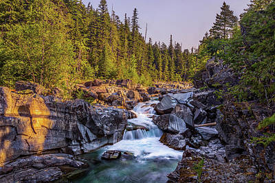 Photograph - Mcdonald Creek Falls by Peter Tellone