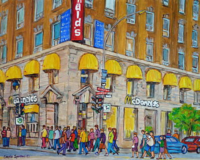 Montreal Restaurants Painting - Mcdonald Restaurant Old Montreal by Carole Spandau