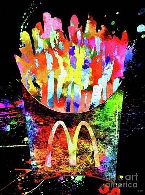 Potato Mixed Media - Mcdonald's French Fries Grunge by Daniel Janda