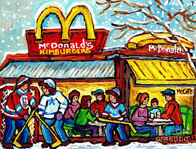 Mcdonald's Hamburger Restaurant Paintings Montreal Mccafe Winter Scenes Hockey Art Carole Spandau    Original by Carole Spandau