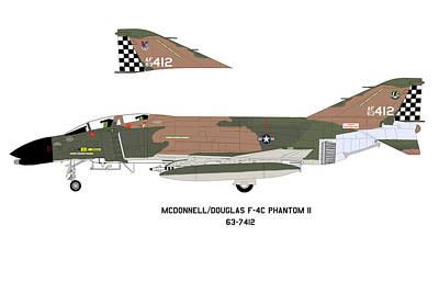 F-4c Digital Art - Mcdonnel/douglas F-4c Phantom II Profile by Richard Filteau