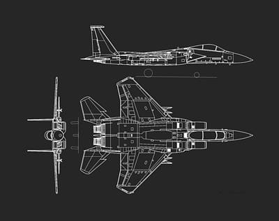 1972 Mixed Media - Mcdonnell Douglas F-15 Eagle Grey Diagram by L Brown
