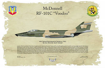 Digital Art - Mcdonnell, Rf-101c, Voodoo, Arthur G. Eggers, Air Wing Graphics by Arthur Eggers