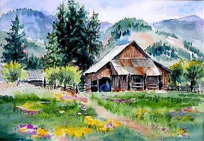 Lynee Sapere Wall Art - Painting - Mcghee Farm by Lynee Sapere
