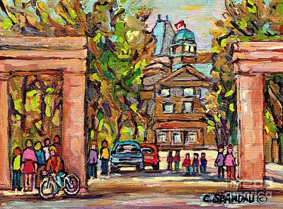 Mcgill Gates  Entrance Of Mcgill University Montreal Quebec Original Oil Painting Carole Spandau Art Print by Carole Spandau
