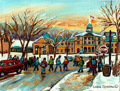 Montreal Winterscenes Painting - Mcgill Gates Sherbrooke Street Montreal by Carole Spandau