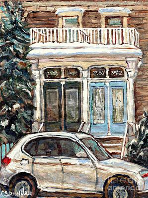 Painting - Mcgill Ghetto Double Doors Duplex White Porch Winterscenes Paintings For Sale Montreal Art C Spandau by Carole Spandau