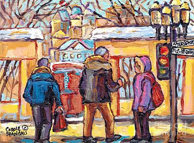 Roddick Gates Painting - Mcgill Students Roddick Gates Downtown Scene Montreal 375 Original Art Carole Spandau Canadian Art by Carole Spandau