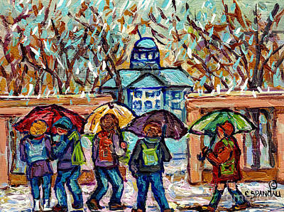 Painting - Mcgill University Canadian Painting Rainy Day Roddick Gates Montreal Scenes C Spandau Quebec Art     by Carole Spandau