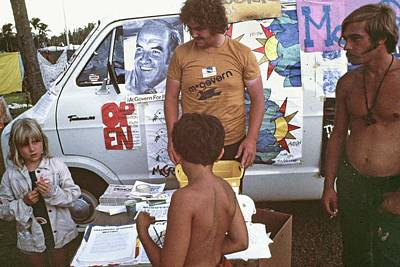 Mcgovern Literature Flamingo Park Democratic National Convention Miami Beach Florida 1972 Print by David Lee Guss