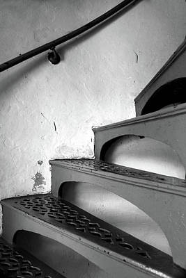 Photograph - Mcgulpin Lighthouse Stairs Bw by Mary Bedy