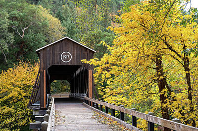 Photograph - Mckee Bridge In Fall by Steven Clark