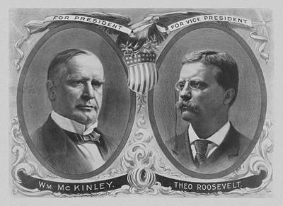 American Presidents Mixed Media - Mckinley And Roosevelt Election Poster by War Is Hell Store