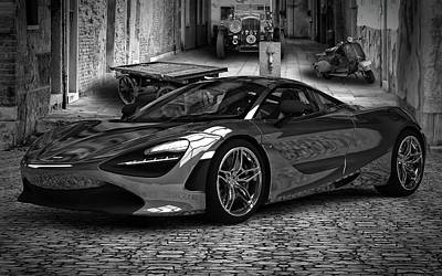 Digital Art - Mclaren 720s Bw by Louis Ferreira