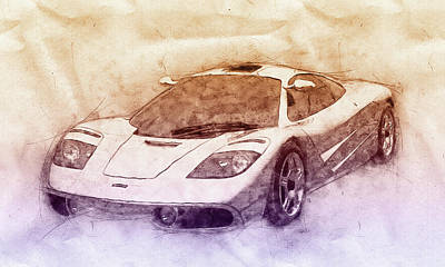 Transportation Royalty-Free and Rights-Managed Images - McLaren F1 - Sports Car 2 - Roadster - Automotive Art - Car Posters by Studio Grafiikka