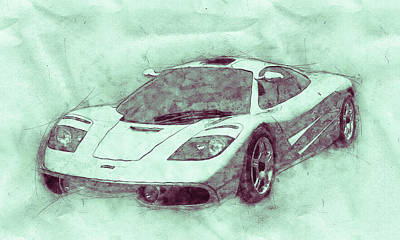 Mixed Media - Mclaren F1 - Sports Car 3 - Roadster - Automotive Art - Car Posters by Studio Grafiikka