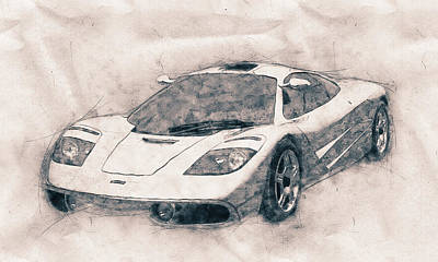 Transportation Royalty-Free and Rights-Managed Images - McLaren F1 - Sports Car - Roadster - Automotive Art - Car Posters by Studio Grafiikka