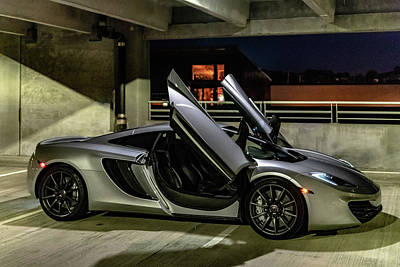 Photograph - Mclaren Mp4-12c Doors Open Three Quarter View by Randy Scherkenbach