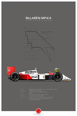 Racing Cars Digital Art - Mclaren Mp4/4 1988 Ayrton Senna by Last Corner