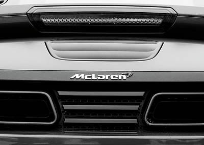 Photograph - Mclaren Sports Car Bw 81616 by Rospotte Photography