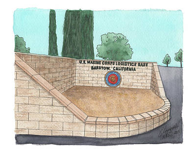 Military Base Painting - Mclb Barstow Welcome by Elizabeth Hackett
