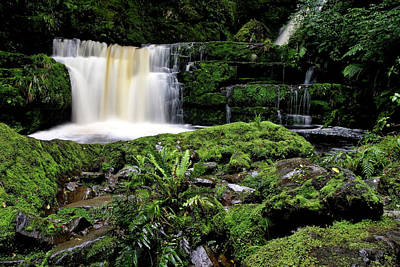 Mclean Falls In Southland New Zealand Print by Mark Duffy