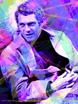 Pop Art Royalty-Free and Rights-Managed Images - McQueen as Bullitt by David Lloyd Glover