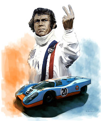 Painting - Mcqueens Passion Le Mans Steve Mcqueen by Iconic Images Art Gallery David Pucciarelli