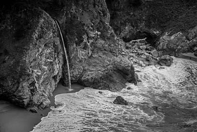 Photograph - Mcway Falls Big Sur Ca II Bw by David Gordon