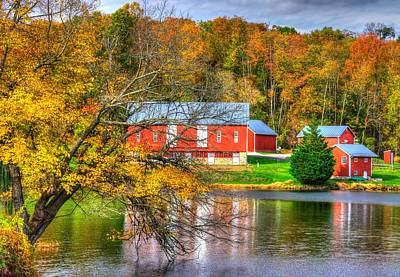 Md Country Roads - Outbuildings Along The Shore Of Lake Merle At Lake Linganore Frederick County Art Print by Michael Mazaika