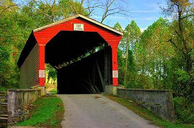 Photograph - Md Covered Bridges - Foxcatcher Farms Covered Bridge Over Big Elk Creek No. 2a - Cecil County by Michael Mazaika
