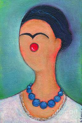 Little Girls98 Painting - Me And My Blue Pearl Necklace by Ricky Sencion