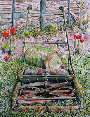 Daffodils Mixed Media - Me I'm Just A Lawnmower - You Can Tell Me By The Way I Walk by Debbie  Diamond