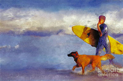 Digital Art - Me My Dog And My Board by Danuta Bennett