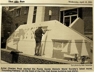 Punta Gorda Painting - Me Starting City Hall Mural by Charles Peck