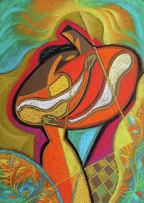 African American Couple Painting - Me, Women, Love by Leon Zernitsky