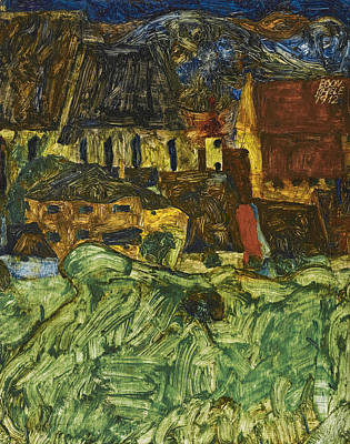 Painting - Meadow Church And Houses by Egon Schiele