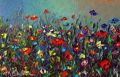 Painting - Meadow Dawn Colorful Wildflowers Abstract Impressionism Impasto Knife Painting By Ana Maria Edulescu by Ana Maria Edulescu