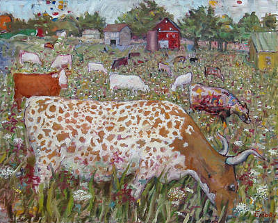 Blue Lake Crab Painting - Meadow Farm Cows by Paul Emory
