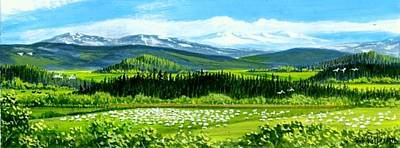 Washington State Skagit County Painting - Meadow Full Of Snow Geese by Bob Patterson