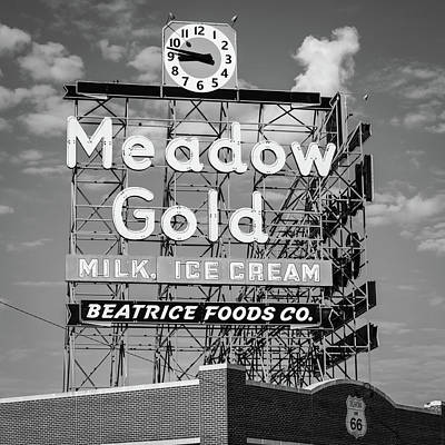 Photograph - Meadow Gold Vintage Neon Route 66 Square Black And White by Gregory Ballos