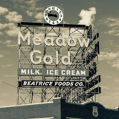 Photograph - Meadow Gold Vintage Neon Route 66 Square Sepia by Gregory Ballos