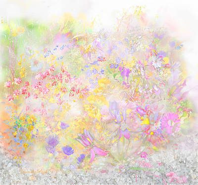 Abstract Beach Landscape Digital Art - Meadow On A Misty Beach by Dorothy  Pugh