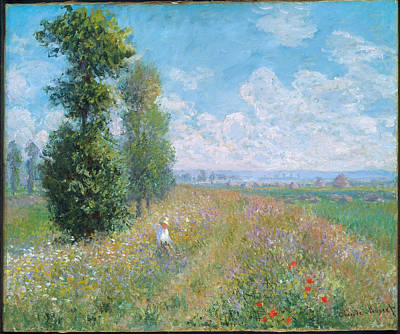 Monet Painting - Meadow With Poplars  by MotionAge Designs