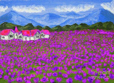Painting - Meadow With Purple Flowers, Oil Painting by Irina Afonskaya