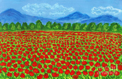 Painting - Meadow With Red Poppies, Painting by Irina Afonskaya