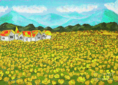 Painting - Meadow With Yellow Dandelions, Oil Painting by Irina Afonskaya