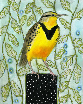 Meadowlark Painting - Meadowlark Black Dot Box by Blenda Tyvoll